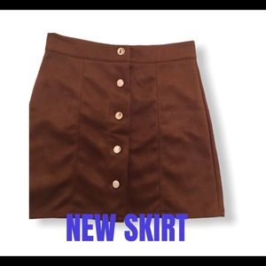 MICRO SUEDE MINI SKIRT NEW BROWN SZ M